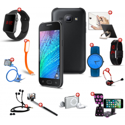 Lovely 12 In 1 Bundle Offer, H-mobile j3 Mini, Universal Rotating Phone Plate Holder, Portable USB LED Lamp, Zipper Stereo Wired Earphones, Ring Holder, Headphone, Mobile holder, Macra watch, Yazol watch, Selfie stick, Mp3 player, Led band watch