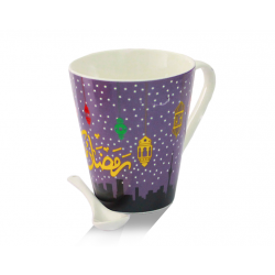 Ramadan Kareem Printed Ceramic Coffee Mug With Spoon, G017