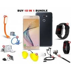 Super deals 10 In 1 Bundle Offer, H-mobile j5 Mini, USB LED Lamp, Zipper Stereo Wired Earphones, Ring Holder, Mobile holder, Macra watch, Selfie Stick, Mp3 player, Led band watch, Bonus Clip Hd Night Vision Glasses, N07470