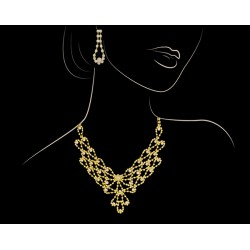 Trust Best 18k Gold Plated Full Cubic Zircon Necklace Set,TB91