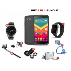 Dream Deal 8 in 1 Bundle Offer, Lafee Smartphone, Macra Digital Unisex Watch, Yazole Fashion Watch, Mobile Holder, Mobile Phone Ring Holder, Selfie Stick, Clip Lens, Mp3 Player