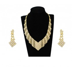 Trust Best 18k Gold Plated Full Cubic Zircons Necklace Set,TB92