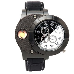 Huayue Watch With Built-in Cigarette Lighter For Men, WL12, Black White