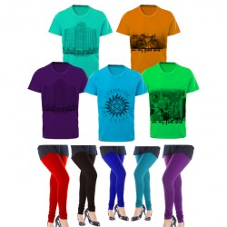 10 in 1 Bundle Offer, Stylish T-Shirt And Universal Leggings Set Assorted Colors And Designs