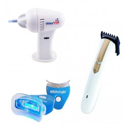 Health Care, 3 in 1 Bundle Offer, White Light Tooth Whitening System, Wax vac Gentle Effective Ear Cleaner, Hair Trimmer