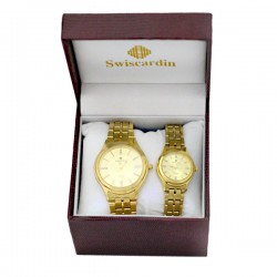Swiscardin 22K Gold Plated Scratch Resistant Crystal Pair Watch For Men&Women, S11601S-G/S11601S-L