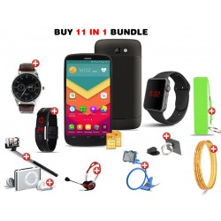 Amazing 11 in 1 Bundle Offer,Lukka Smartphone, Macra Digital Unisex Watch, Mp3 Player, Yazole 311 Watch, Mobile Phone Ring Holder, Power Bank, Nacre 18K Gold Plated Bangles, Selfie Stick, LED Band Watch, Headphone, Mobile Holder