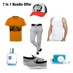 High Rock 7 In 1 Bundle Offer, Stylish T-Shirt Unisex, Unisex Tracksuit, Fit Life Vest Innerwear, Linkin Park Rock Casual Cap, Slip On Sneakers, Morakot Eight Element E Do Toilet Perfume, Mp3 Player