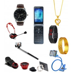 10 In 1 Bundle Offer,Excellent Mobile phone,LED Band Watch,Mobile Holder,Headphone,Selfie Stick,Clip Lens ,Mobile Phone Ring Holder,Nano Bangle,Dong Grurami Chain,Yazole 311 Watch