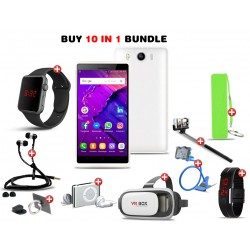 Big Deal 10 In 1 Bundle Offer, Lukka Smartphone, Macra Digital Watch, Mp3 Player, Selfie Stick, Power Bank, LED Band Watch, Mobile Phone Ring Holder, Zipper Stereo Wired Earphones, VR Box, Mobile Holder