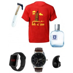 Fashion 17 in 1 Bundle Offer,12Pcs Set Assorted Color T-Shirt For Men, Size M,Yazole Watch,Rechargeable Hair Trimmer,Digital Unisex Watch, Wireless Bluetooth Headset,Morakot Eight Element E Do Toilet Perfume