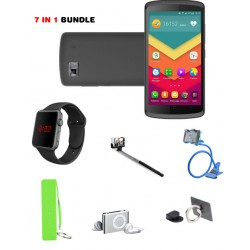 Entertainment 7 in 1 Bundle Offer,Lafee Smartphone,Macra Digital Unisex Watch, Mobile Power Bank Portable,Phone Holder,Selfie stick,MP3 Player,Mobile Phone Ring Holder