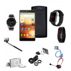 10 In 1 Bundle Offer,Gever Smartphone,LED Band Watch,Mobile Holder,Headphone,Selfie Stick,Clip Lens ,Mobile Phone Ring Holder,Yazole 311 Watch,Macra Digital Unisex Watch,Mp3 Player