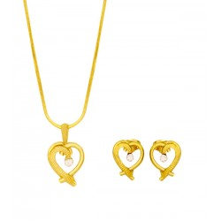 Dong Gurami 18K Gold Plated Heart Design Pendant Set With Zircons, TKG470