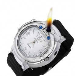 Huayue Watch With Built-in Cigarette Lighter For Men, WL15, Silver Black