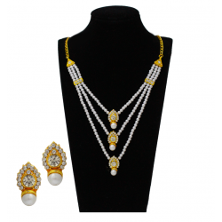 Best 18K Gold Plated 3 Layer Pearl Necklace with Drop Design Pendant And Earring, B1003