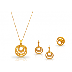Dakkak 18K Gold Plated Round Shape Designed Jewellery Set With Crystal Stones, DK015