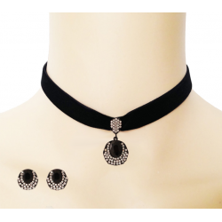 Dakkak Fashion White Cubic Crystal Stone Choker Necklace Set, DK03