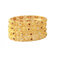 Dakkak Fashion 22K Gold Plated Crystal Stones 4 pcs Bangles, DK02