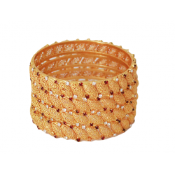 Dakkak Fashion 22K Gold Plated 4Pcs Handmade Zircon Bangle, DK014