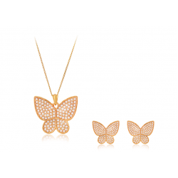 Dakkak Fashion 18K Gold Plated Full Crystal Cubic Zircon Butterfly Pendent Set, DK010