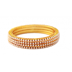 Dakkak Fashion 18K Gold Plated 4 Pcs Lulu And Red Crystal Stone Handmade Bangle, DK012