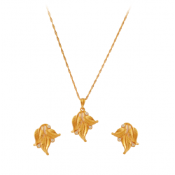 Dakkak Fashion 18K Gold Plated Leaf Design Necklace Set With Cubic Zircons, DK05