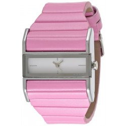 Julius White Dial Leather Band Fashion Watch And Cubic Zircon Bracelet For Woman, JA403