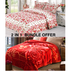 2 In 1 Special Offer,Wanasa Bed Sheet Exclusive Collection 3 Pcs,Flannel Single Blanket Super Soft Assorted Colours And Assorted Design's 160X200CM, BA04