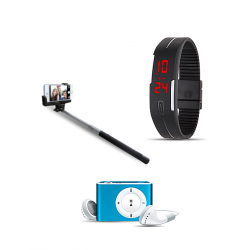 3 in 1 Bundle Offer, LED Band Watch, Mp3 Player, Selfie Stick