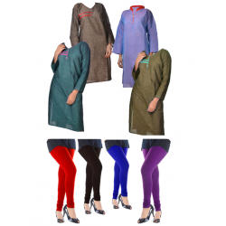 8 in 1 Bundle Offer, Universal Kurta And Leggings Set Assorted Colors And Designs