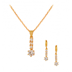 Milano Fashion 18K Gold Plated Stick Design Pendant With Cubic Zircons, ML08