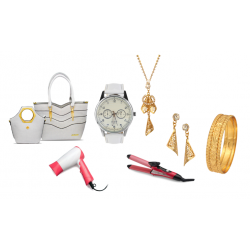 6 in 1 Ladies Accessories Bundle Offer, Kenz Ladies Fashion Bag, Yazole Watch, Sapna 22k Gold Plated Bangles, Hair Curler And Hair Straightener, Hair Dryer, Dong Gurami 22K Gold Plated Stone Necklace Set