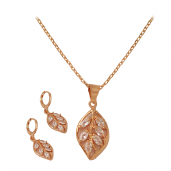Milano Fashion 18K Gold Plated Flower Leaf Design Crystal Stone Pendant Set with Ear Ring, ML06
