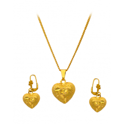 Trust Best18K Gold Plated Heart Shape Pendant Set, TB25