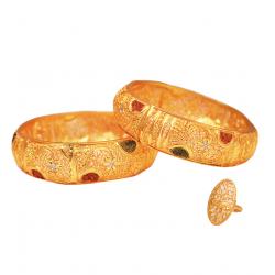 Milano Arts 22K Gold Plated Bridal Handmade Design Bangles Set, ML271