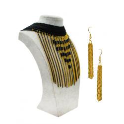 Nasrin Style Black Bead Gold Fringe Chain Bib Collar Necklace, HS10