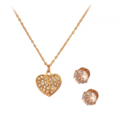 Trust Best 18K Heart Shape Design Gold Plated Cubic Zircon Necklace Set,TB81