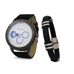 Professional Men'S Leather Band Watch With Bracelet White Dial, P1017G
