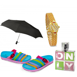 Happy Lady Buy 4 In 1 Bundle Offer, Fly Bird Women'S Summer Flats Summer Beach Ladies Fashion Chapels, Vivinevo only for women perfume, Walar Fancy Watch For Women, She Rain Wind Pro Jumbo Umbrella Auto Open And Close, AZ665