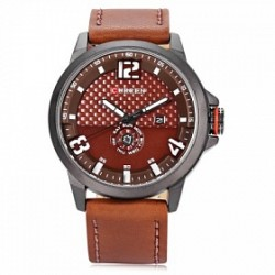 Curren Sports Leather Fashion Watch For Men, 8253, Brown