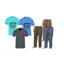 Buy 6 In 1 Bundle Offer, Bounce Since Men's Plain Cotton T-Shirt, Assorted Colors, 2 Pice Champion Spoets 03 Men's Round Neck T-Shirt Assorted Colors, 3pcs Universal Unisex Pajamas Assorted Colors And Design, TST546