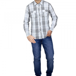 Buy 2 In 1 Bundle Offer, Running Day Casual Long Sleeve Cotton Shirt For Men, Fashionable Blue Jeans For Men, SH003