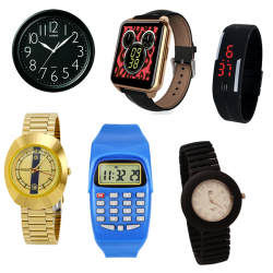 Eid Special 6  in 1 Bundle offer, Casio Wall Clock With 10 Inches Quartz, Lux Star Stainless Steel Watch For Men, Quartz Touch Band Watch, MJ New Quartz Exclusive Flexible Band Unisex Watch,  Better Kid's Calculator Watch, Universal LED Band Watch, F66