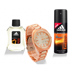 Buy 3 In 1 Bundle Offer, Lumex Quartz Watch For Men, Adidas Extreme Power For Men 100ML, Adidas Deep Energy Deo Body Spray For Men, 150ML, LU076