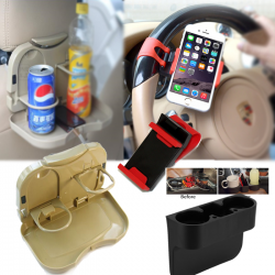 Buy 3 In 1 Bundle Offer, Car Restaurant Table During The Travelling, Universal Car Valet Wedge Cup Holder, Car Steering Wheel Mount Holder Rubber Band For Smartphones, CR36