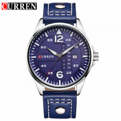 Curren Leather Band Watch For Men, 8224, Navy