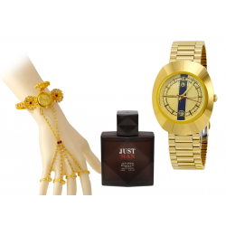 Buy 3 In 1 Bundle Offer, Lux Star Stainless Steel Watch For Men, Arabic Bangle Watch With 4 Rings, Entity Just Man Perfume , 100ML, LX24