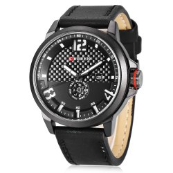 Curren Sports Leather Fashion Watch For Men, 8253, Black