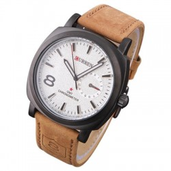 Curren Leather Band Watch For Men, 8139 White Dial